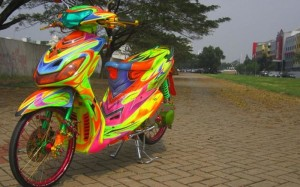 modifikasi yamaha mio air brush keren