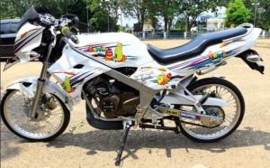 Modifikasi Kawasaki Ninja R150 White Minimalis